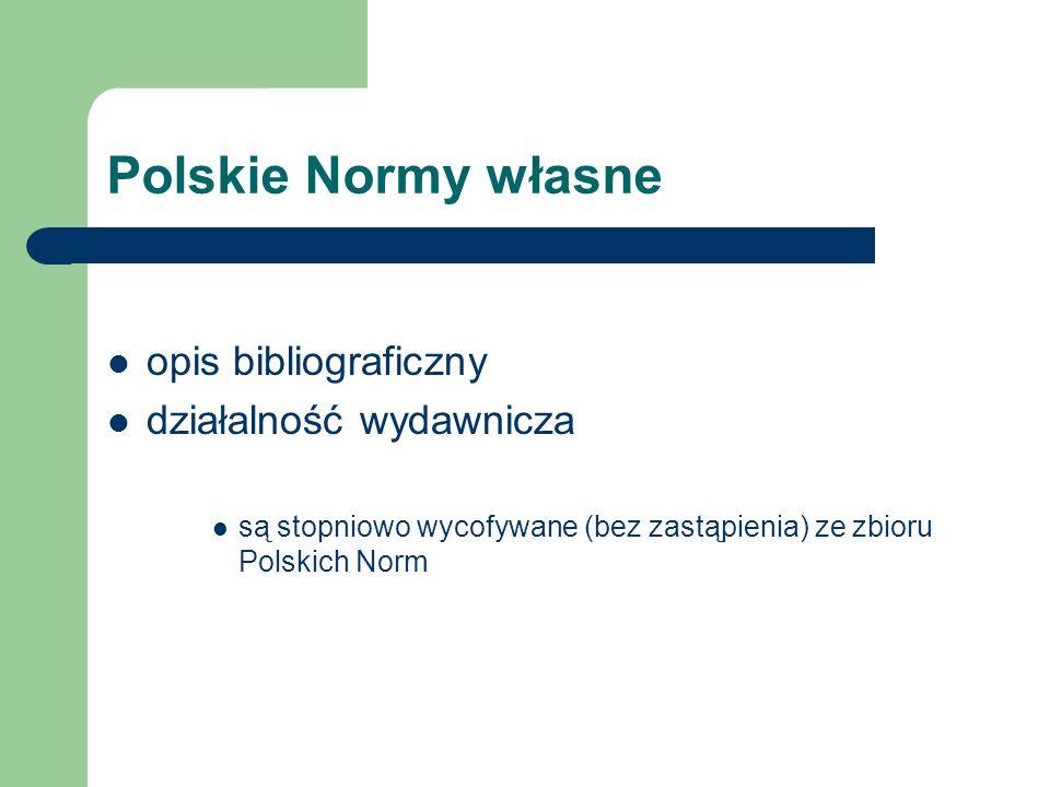 Polskie Normy własne opis bibliograficzny działalność wydawnicza