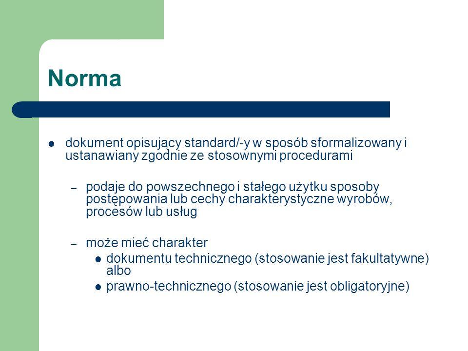 Norma dokument opisujący standard/-y w sposób sformalizowany i ustanawiany zgodnie ze stosownymi procedurami.