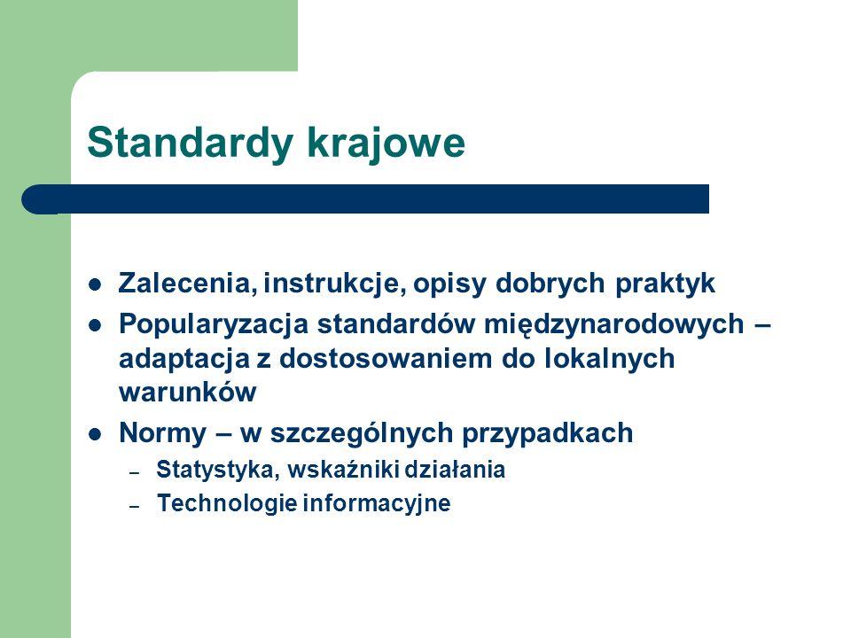 Standardy krajowe Zalecenia, instrukcje, opisy dobrych praktyk