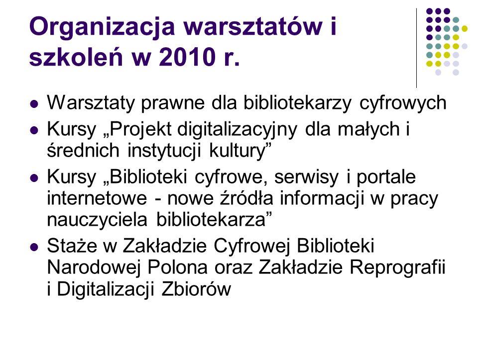 Organizacja warsztatów i szkoleń w 2010 r.
