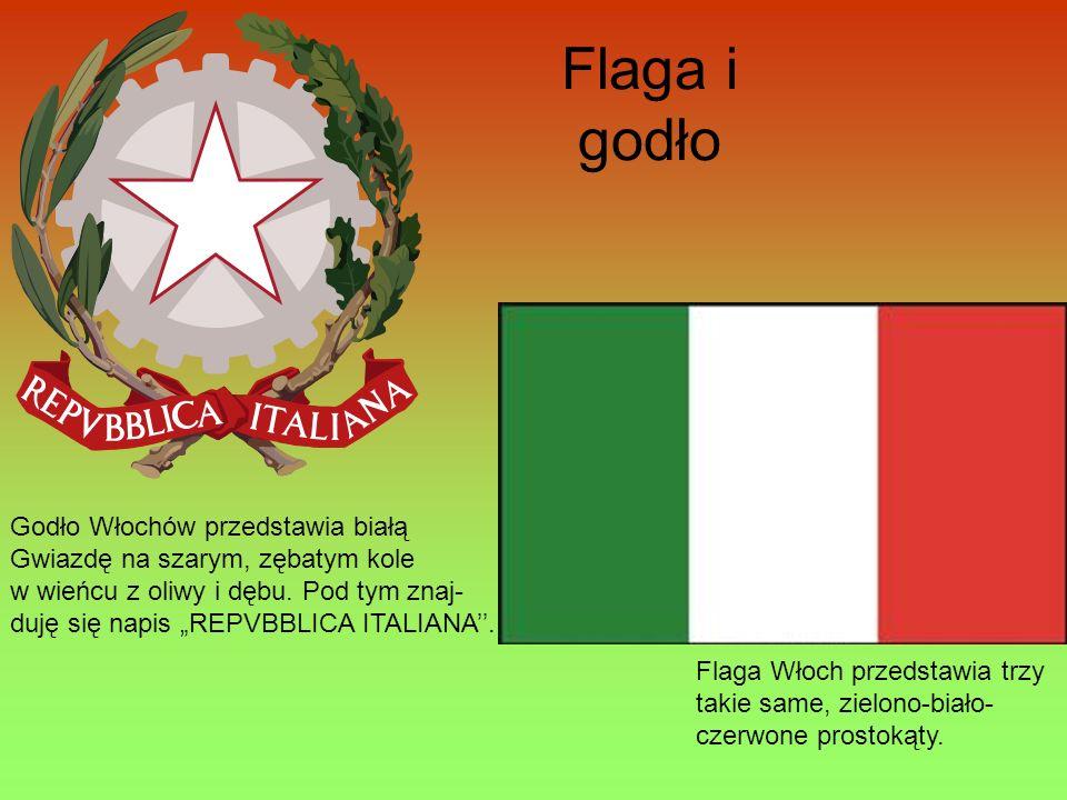 Flaga i godło Godło Włochów przedstawia białą
