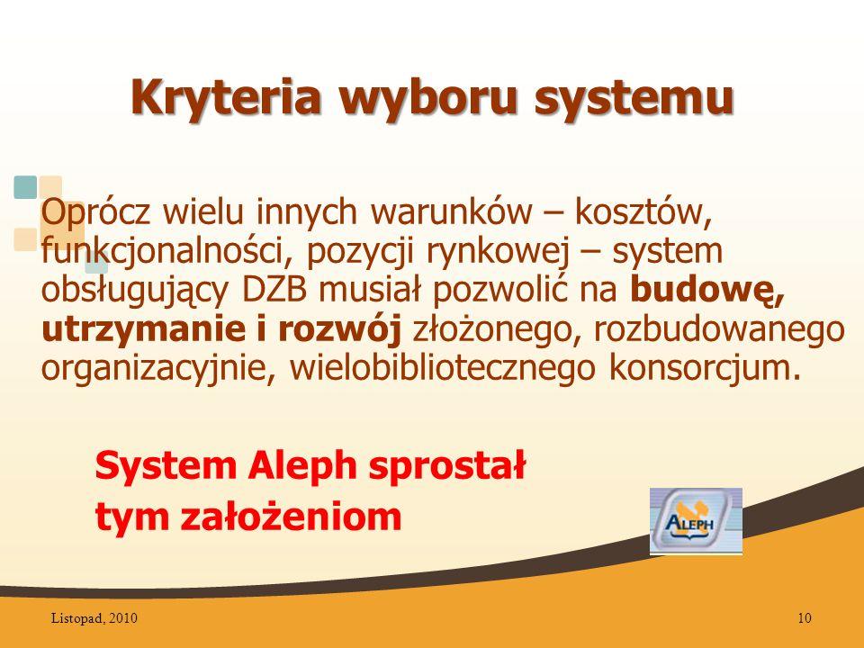 Kryteria wyboru systemu