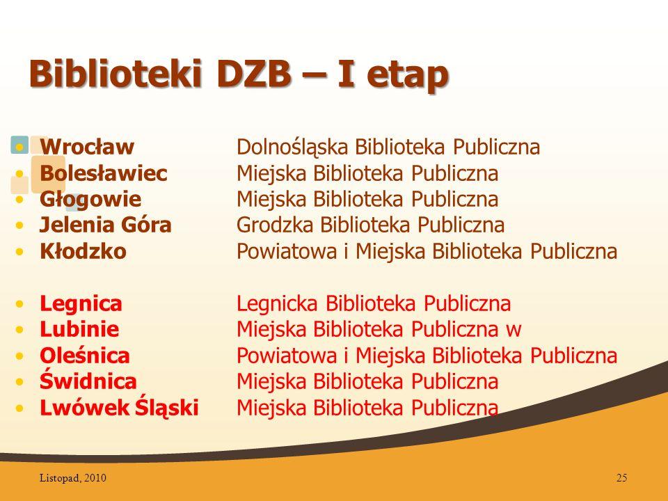 Biblioteki DZB – I etap Wrocław Dolnośląska Biblioteka Publiczna