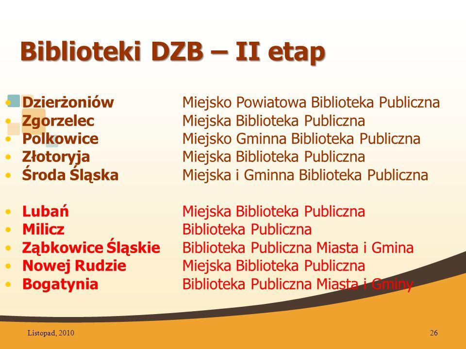 Biblioteki DZB – II etap