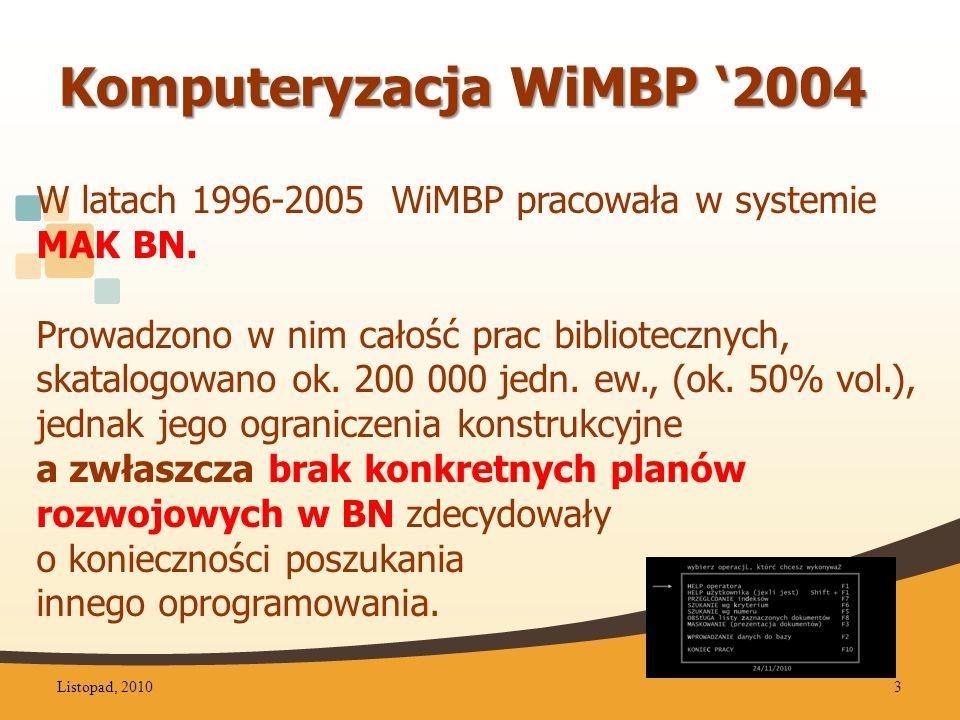 Komputeryzacja WiMBP '2004