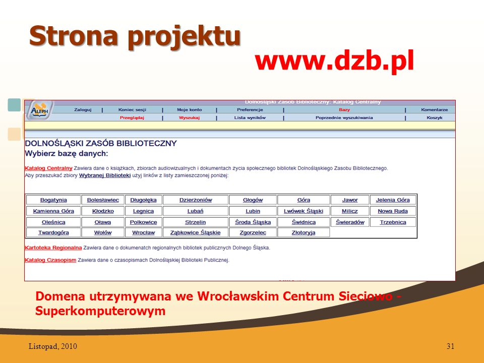 Strona projektu www.dzb.pl