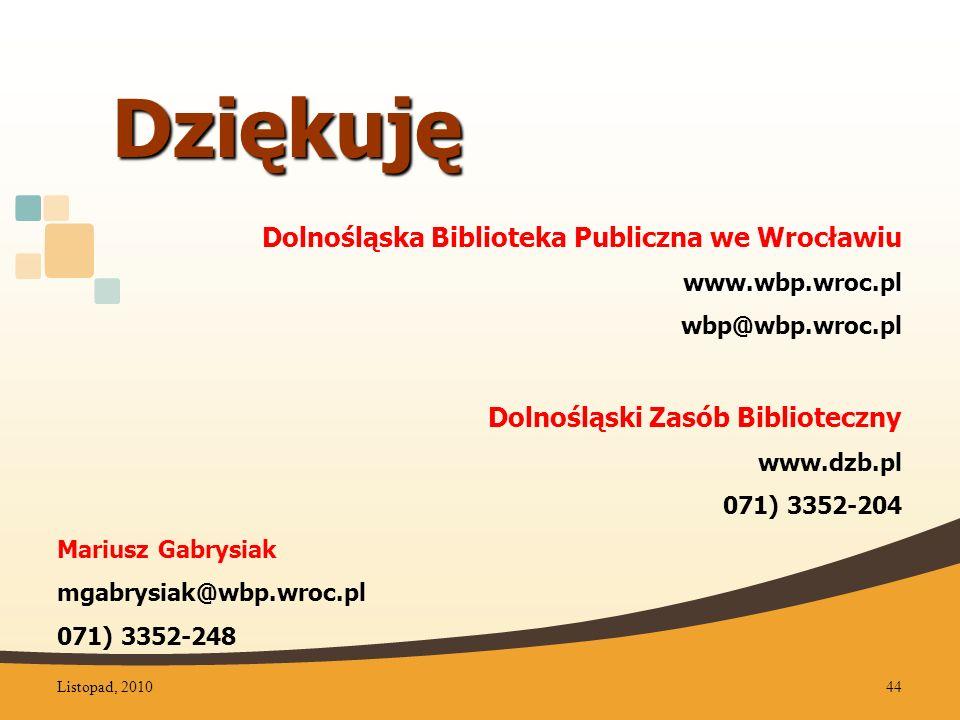 Dziękuję Dolnośląska Biblioteka Publiczna we Wrocławiu