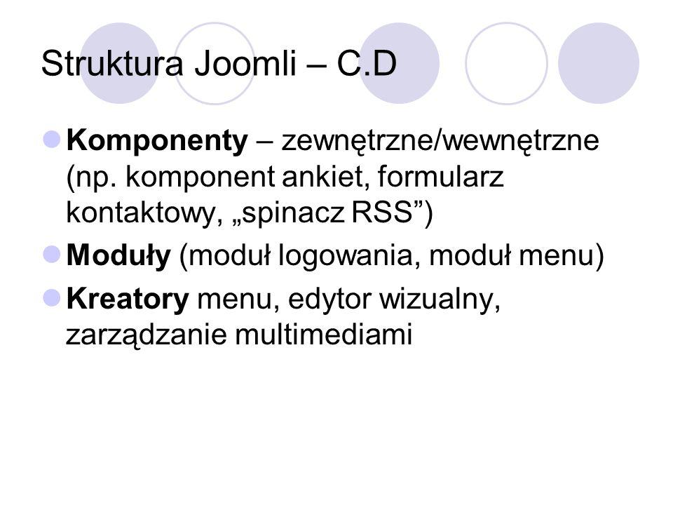 """Struktura Joomli – C.D Komponenty – zewnętrzne/wewnętrzne (np. komponent ankiet, formularz kontaktowy, """"spinacz RSS )"""