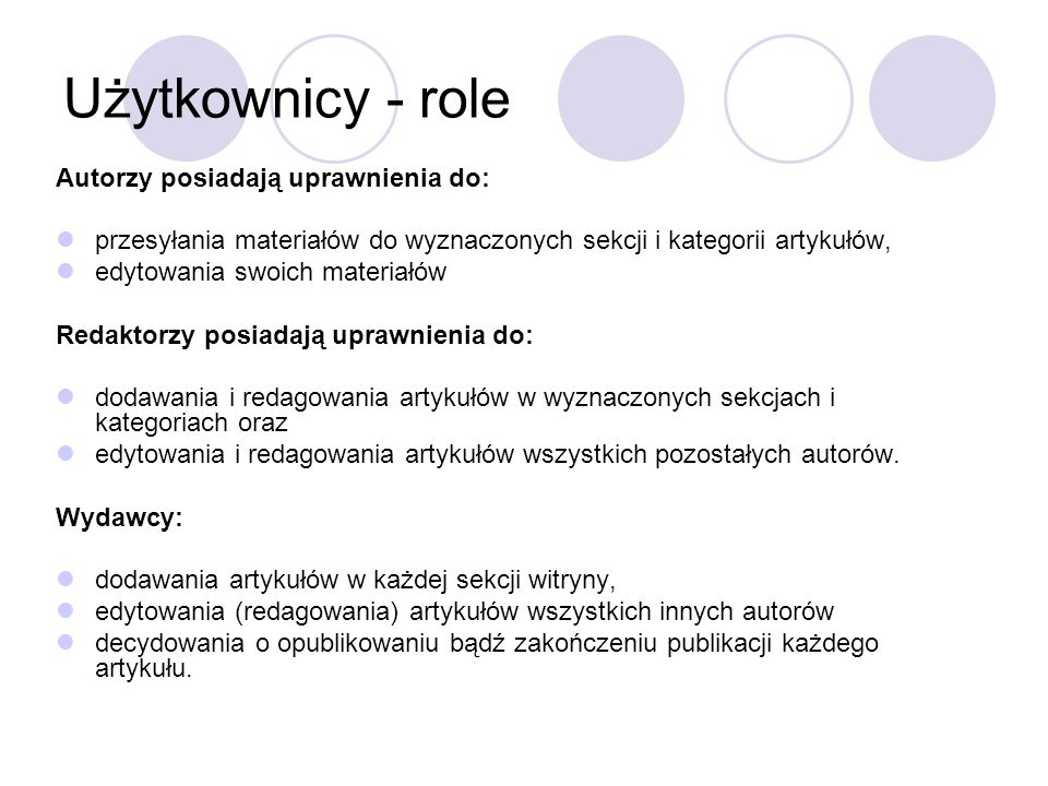 Użytkownicy - role Autorzy posiadają uprawnienia do:
