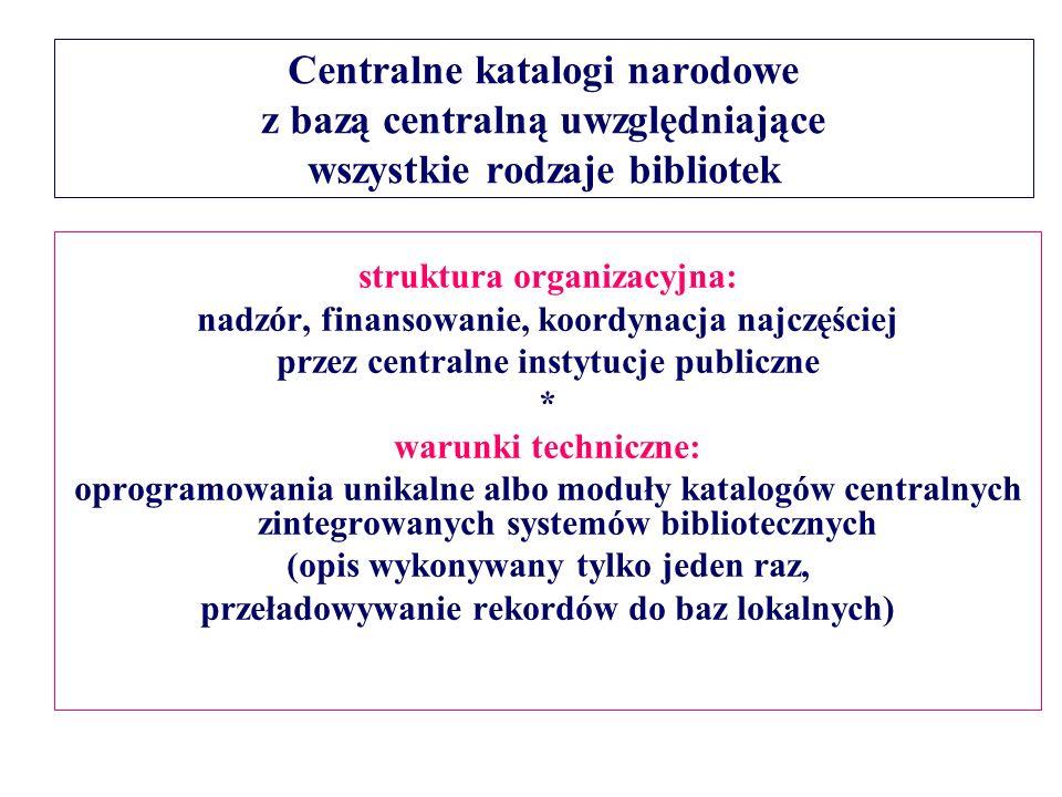 Centralne katalogi narodowe z bazą centralną uwzględniające wszystkie rodzaje bibliotek