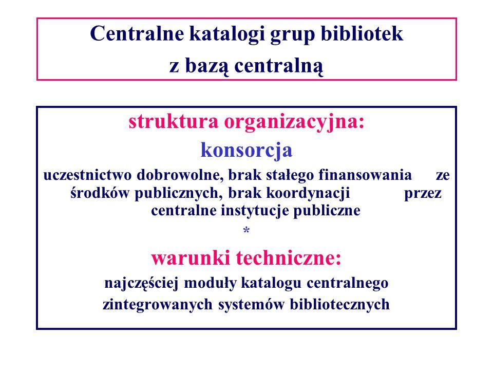Centralne katalogi grup bibliotek z bazą centralną