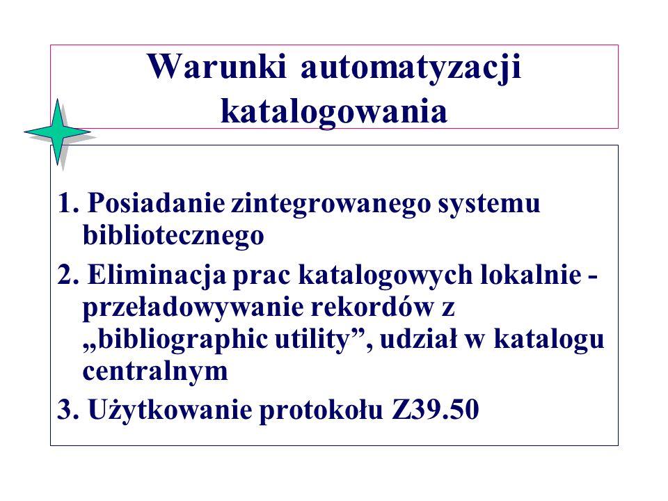 Warunki automatyzacji katalogowania