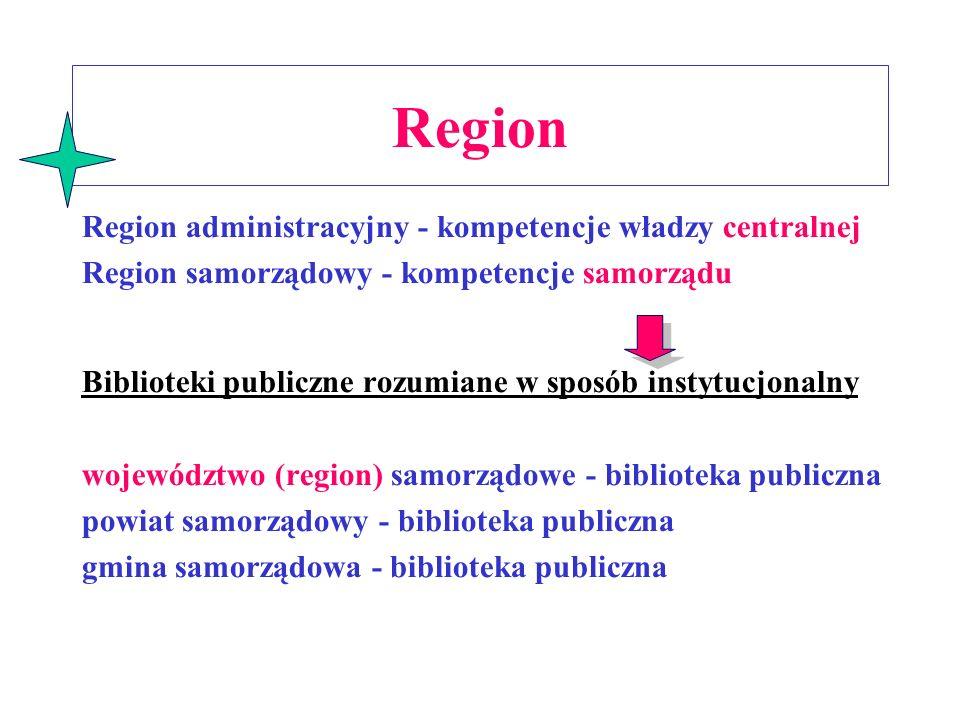 Region Region administracyjny - kompetencje władzy centralnej
