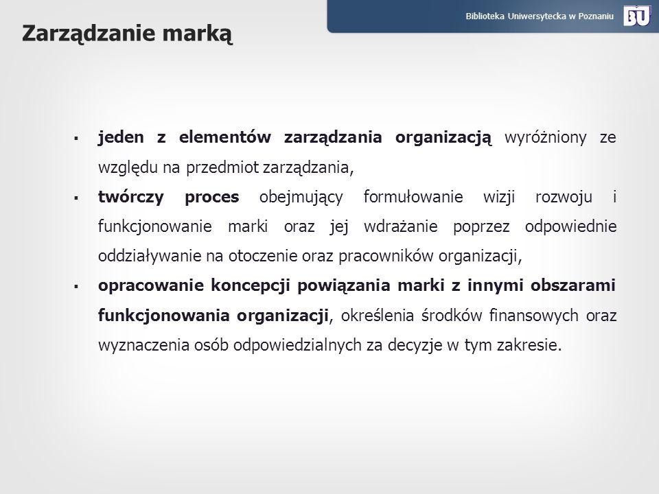 Zarządzanie marką jeden z elementów zarządzania organizacją wyróżniony ze względu na przedmiot zarządzania,