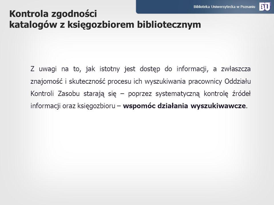 Kontrola zgodności katalogów z księgozbiorem bibliotecznym