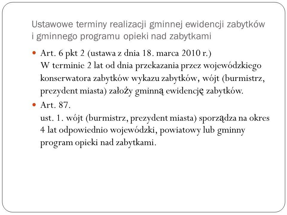 Ustawowe terminy realizacji gminnej ewidencji zabytków i gminnego programu opieki nad zabytkami
