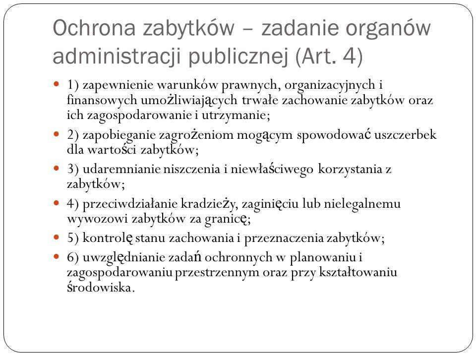 Ochrona zabytków – zadanie organów administracji publicznej (Art. 4)