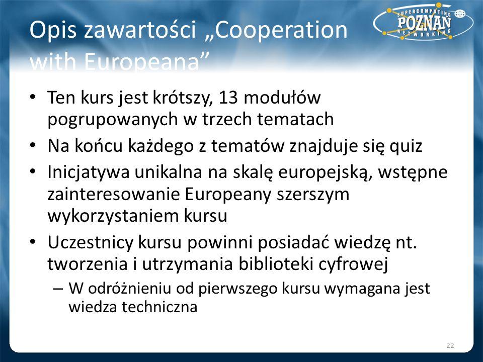 """Opis zawartości """"Cooperation with Europeana"""