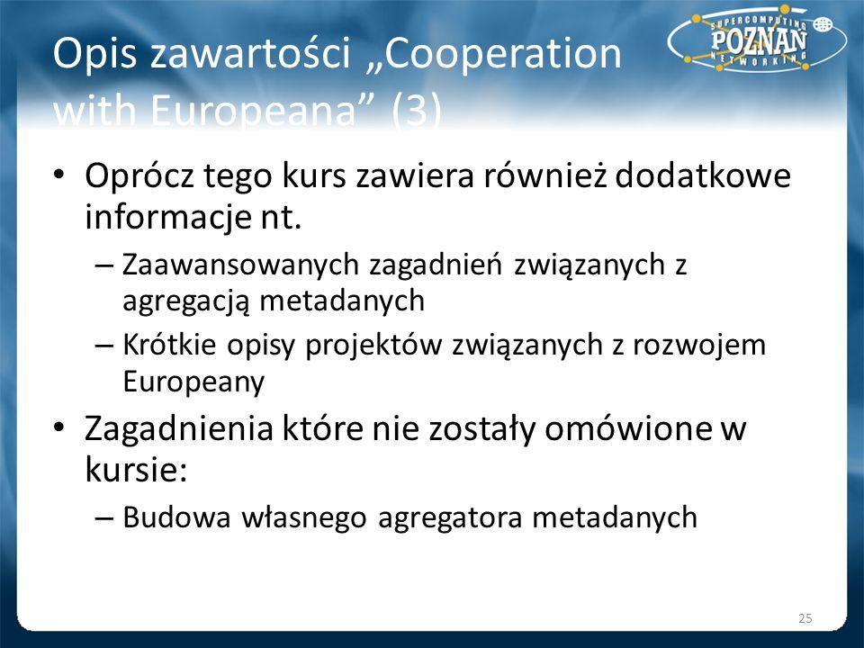 """Opis zawartości """"Cooperation with Europeana (3)"""