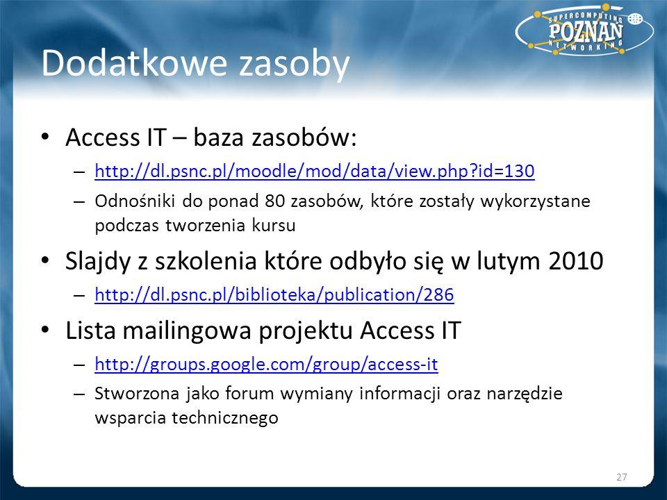 Dodatkowe zasoby Access IT – baza zasobów: