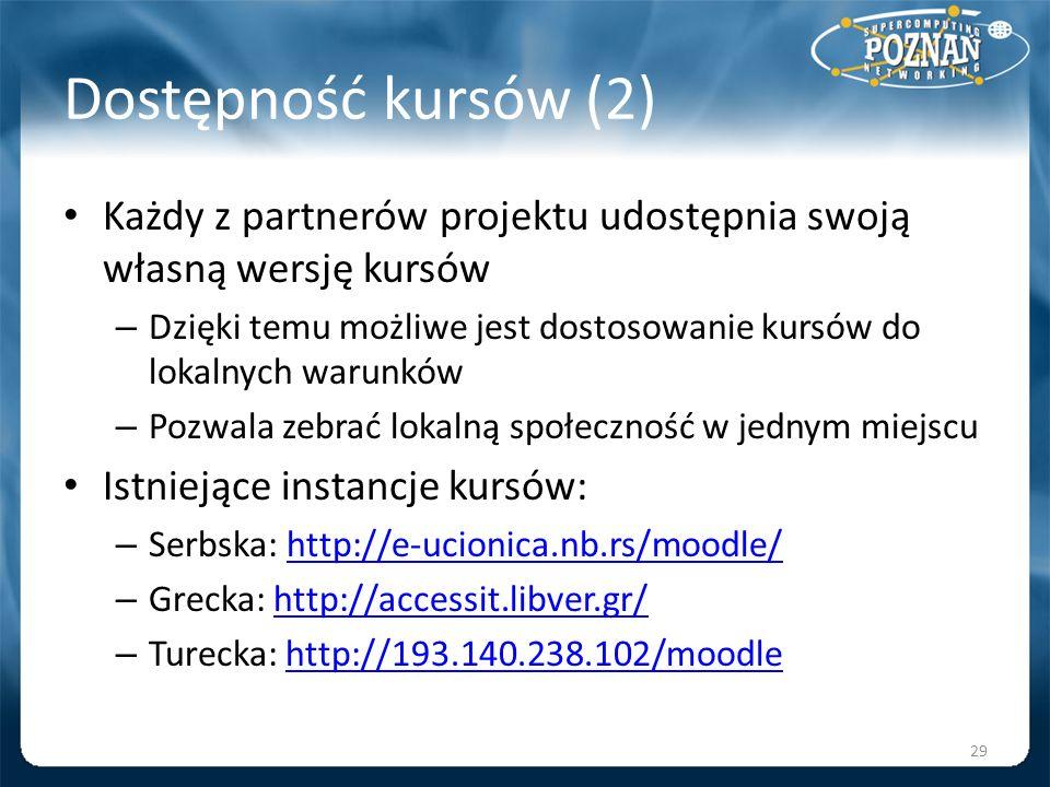 Dostępność kursów (2) Każdy z partnerów projektu udostępnia swoją własną wersję kursów.