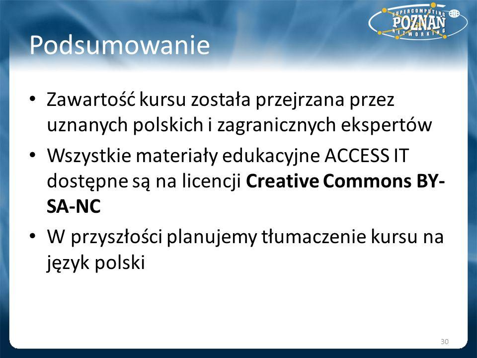 PodsumowanieZawartość kursu została przejrzana przez uznanych polskich i zagranicznych ekspertów.