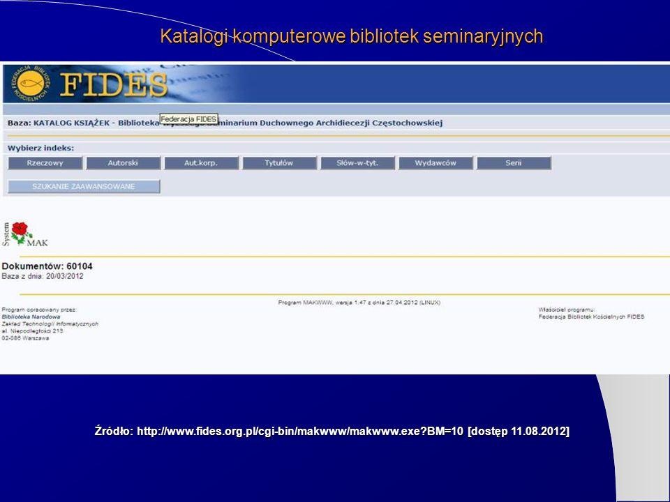 Katalogi komputerowe bibliotek seminaryjnych