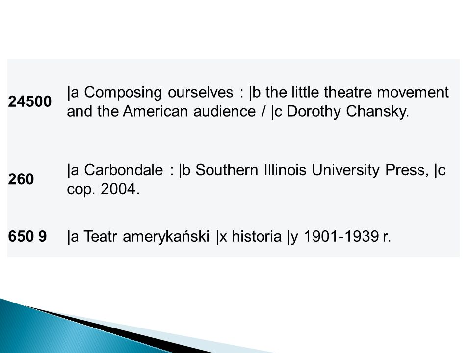 24500 |a Composing ourselves : |b the little theatre movement and the American audience / |c Dorothy Chansky.