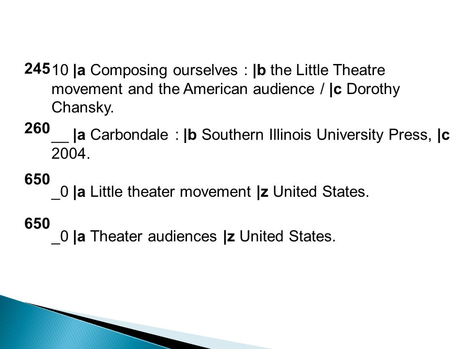 245 10 |a Composing ourselves : |b the Little Theatre movement and the American audience / |c Dorothy Chansky.
