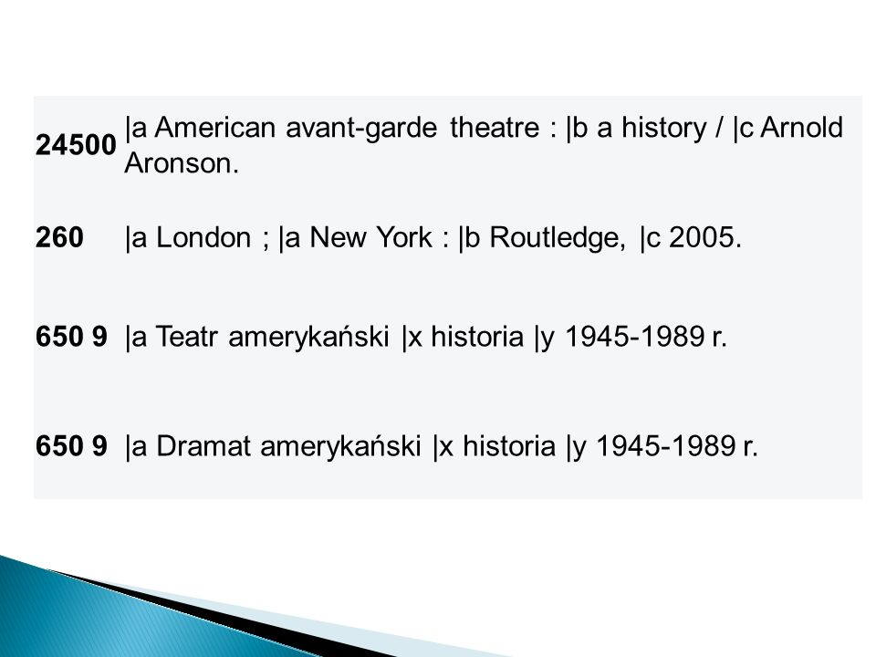 24500 |a American avant-garde theatre : |b a history / |c Arnold Aronson. 260. |a London ; |a New York : |b Routledge, |c 2005.