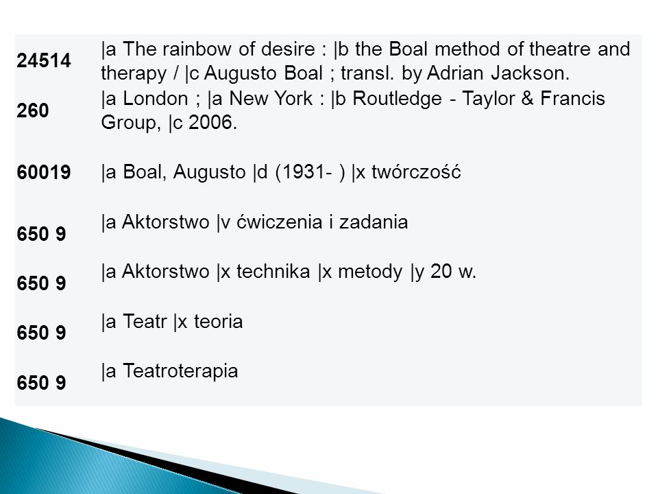 24514 |a The rainbow of desire : |b the Boal method of theatre and therapy / |c Augusto Boal ; transl. by Adrian Jackson.