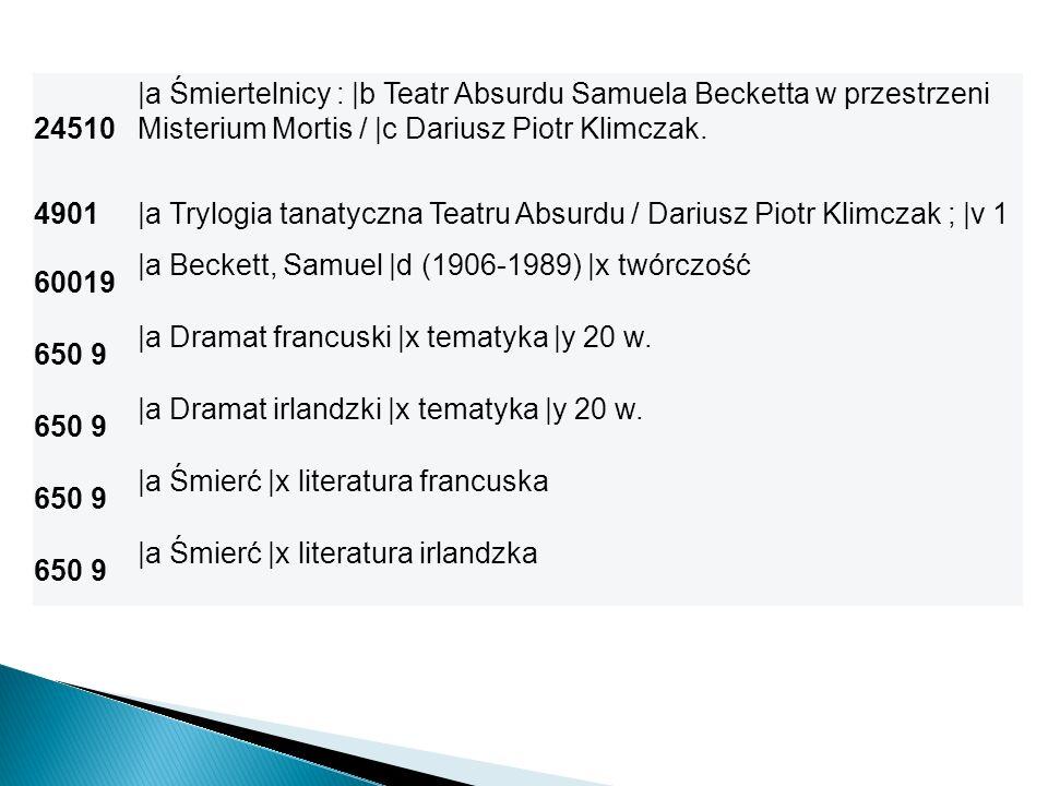 24510 |a Śmiertelnicy : |b Teatr Absurdu Samuela Becketta w przestrzeni Misterium Mortis / |c Dariusz Piotr Klimczak.