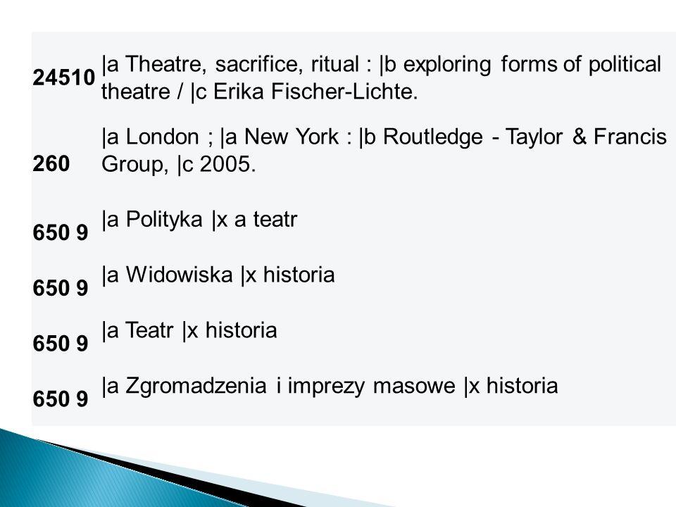 24510 |a Theatre, sacrifice, ritual : |b exploring forms of political theatre / |c Erika Fischer-Lichte.
