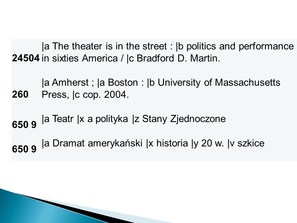 24504 |a The theater is in the street : |b politics and performance in sixties America / |c Bradford D. Martin.