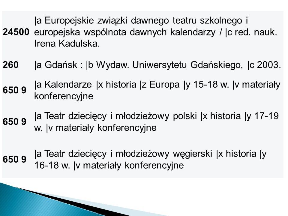 24500 |a Europejskie związki dawnego teatru szkolnego i europejska wspólnota dawnych kalendarzy / |c red. nauk. Irena Kadulska.