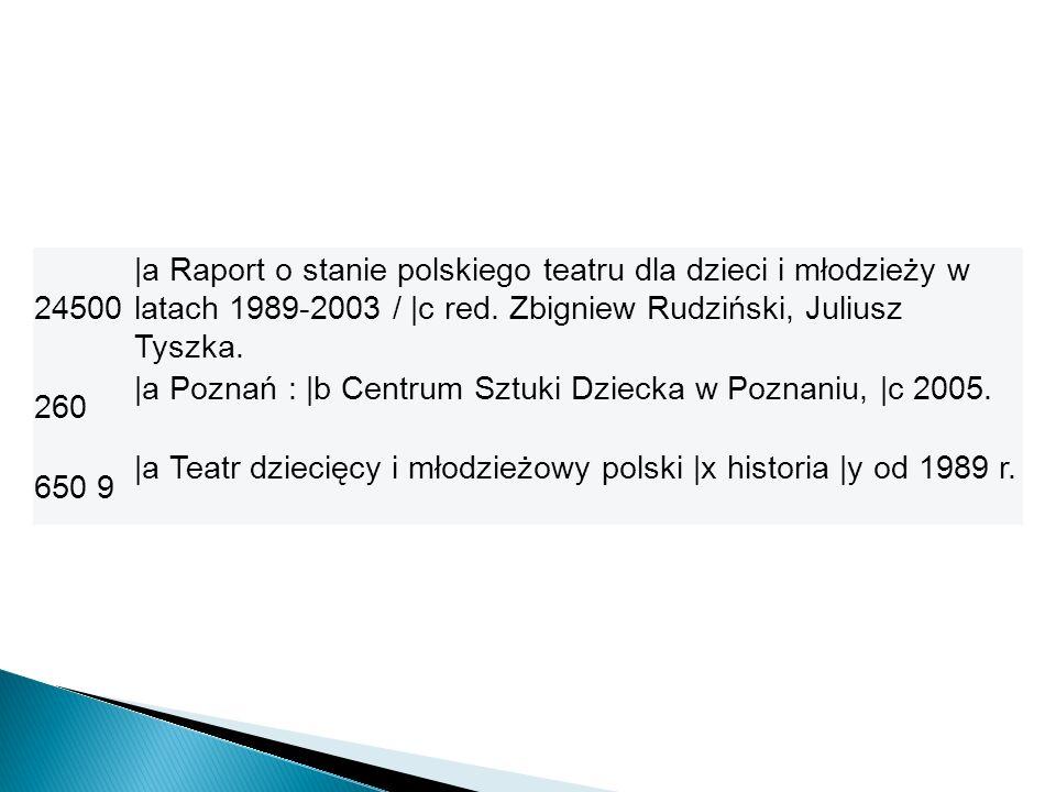 24500 |a Raport o stanie polskiego teatru dla dzieci i młodzieży w latach 1989-2003 / |c red. Zbigniew Rudziński, Juliusz Tyszka.