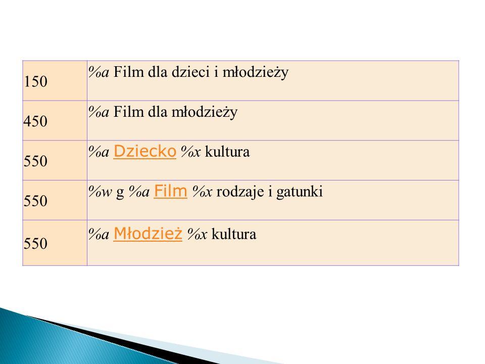 150 %a Film dla dzieci i młodzieży. 450. %a Film dla młodzieży. 550. %a Dziecko %x kultura. %w g %a Film %x rodzaje i gatunki.