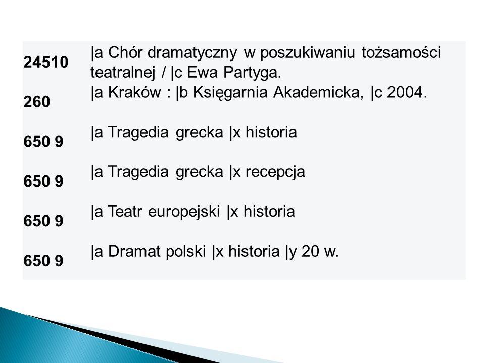 24510 |a Chór dramatyczny w poszukiwaniu tożsamości teatralnej / |c Ewa Partyga. 260. |a Kraków : |b Księgarnia Akademicka, |c 2004.