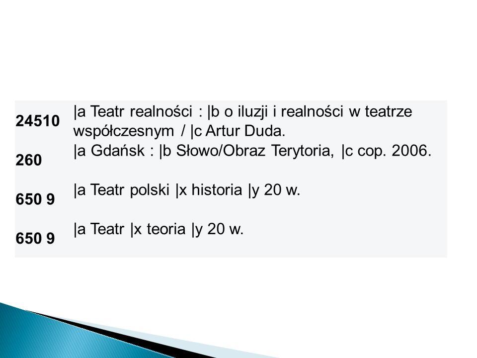 24510 |a Teatr realności : |b o iluzji i realności w teatrze współczesnym / |c Artur Duda. 260. |a Gdańsk : |b Słowo/Obraz Terytoria, |c cop. 2006.