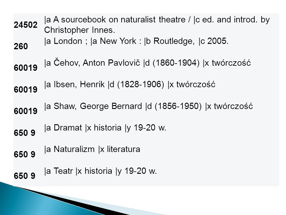 24502 |a A sourcebook on naturalist theatre / |c ed. and introd. by Christopher Innes. 260. |a London ; |a New York : |b Routledge, |c 2005.