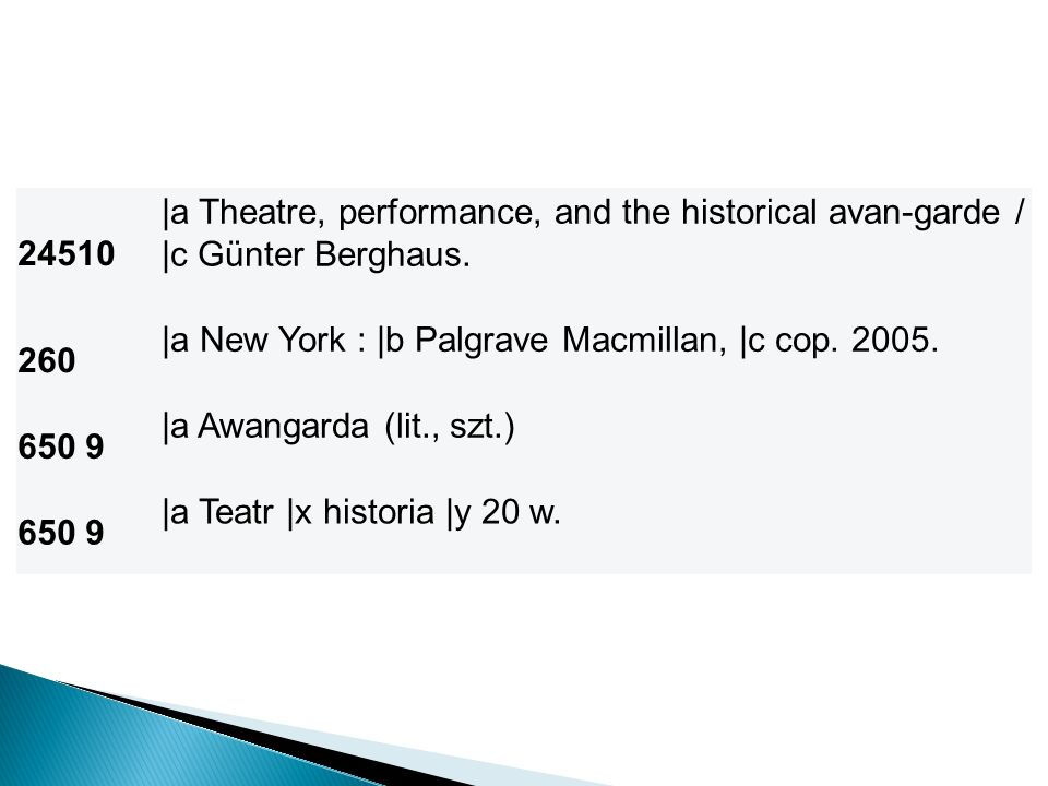 24510 |a Theatre, performance, and the historical avan-garde / |c Günter Berghaus. 260. |a New York : |b Palgrave Macmillan, |c cop. 2005.
