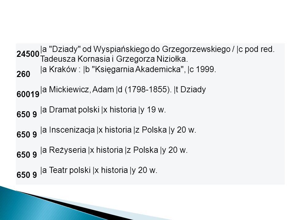 24500 |a Dziady od Wyspiańskiego do Grzegorzewskiego / |c pod red. Tadeusza Kornasia i Grzegorza Niziołka.