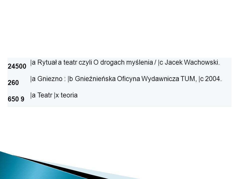 24500 |a Rytuał a teatr czyli O drogach myślenia / |c Jacek Wachowski. 260. |a Gniezno : |b Gnieźnieńska Oficyna Wydawnicza TUM, |c 2004.