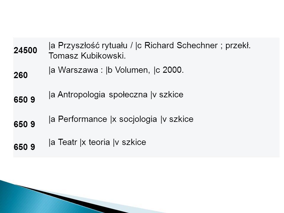 24500 |a Przyszłość rytuału / |c Richard Schechner ; przekł. Tomasz Kubikowski. 260. |a Warszawa : |b Volumen, |c 2000.