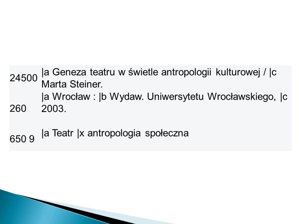 24500 |a Geneza teatru w świetle antropologii kulturowej / |c Marta Steiner. 260. |a Wrocław : |b Wydaw. Uniwersytetu Wrocławskiego, |c 2003.