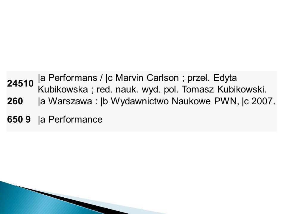 24510 |a Performans / |c Marvin Carlson ; przeł. Edyta Kubikowska ; red. nauk. wyd. pol. Tomasz Kubikowski.