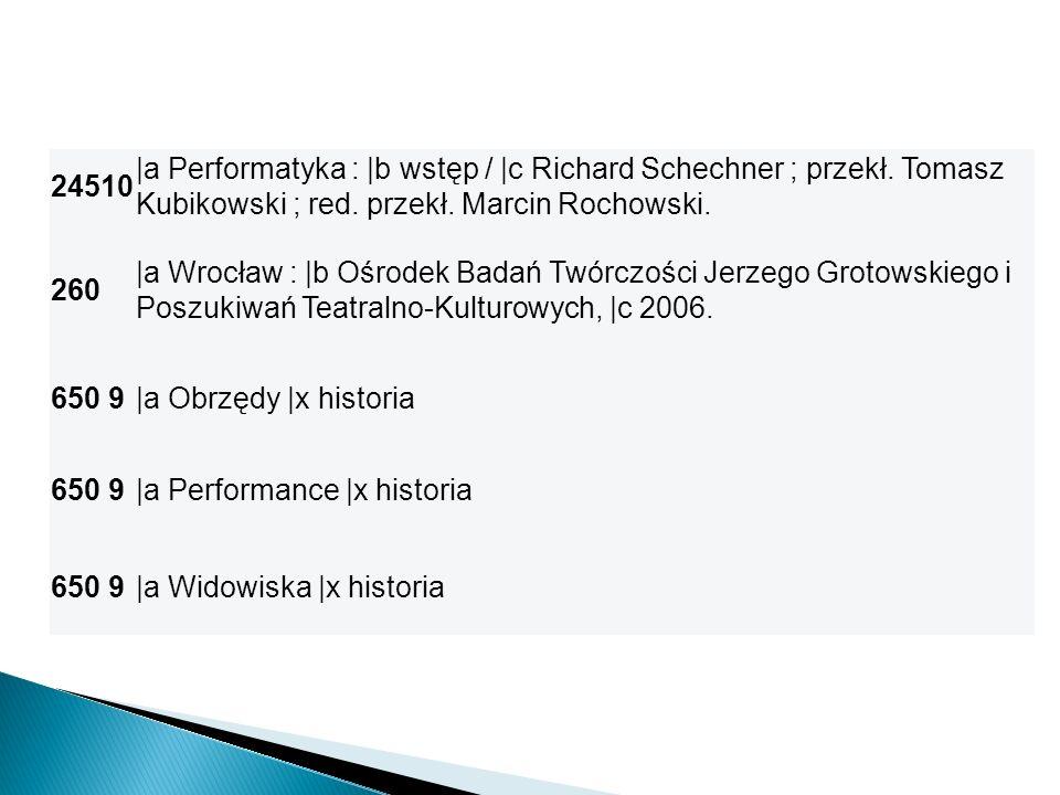 24510 |a Performatyka : |b wstęp / |c Richard Schechner ; przekł. Tomasz Kubikowski ; red. przekł. Marcin Rochowski.