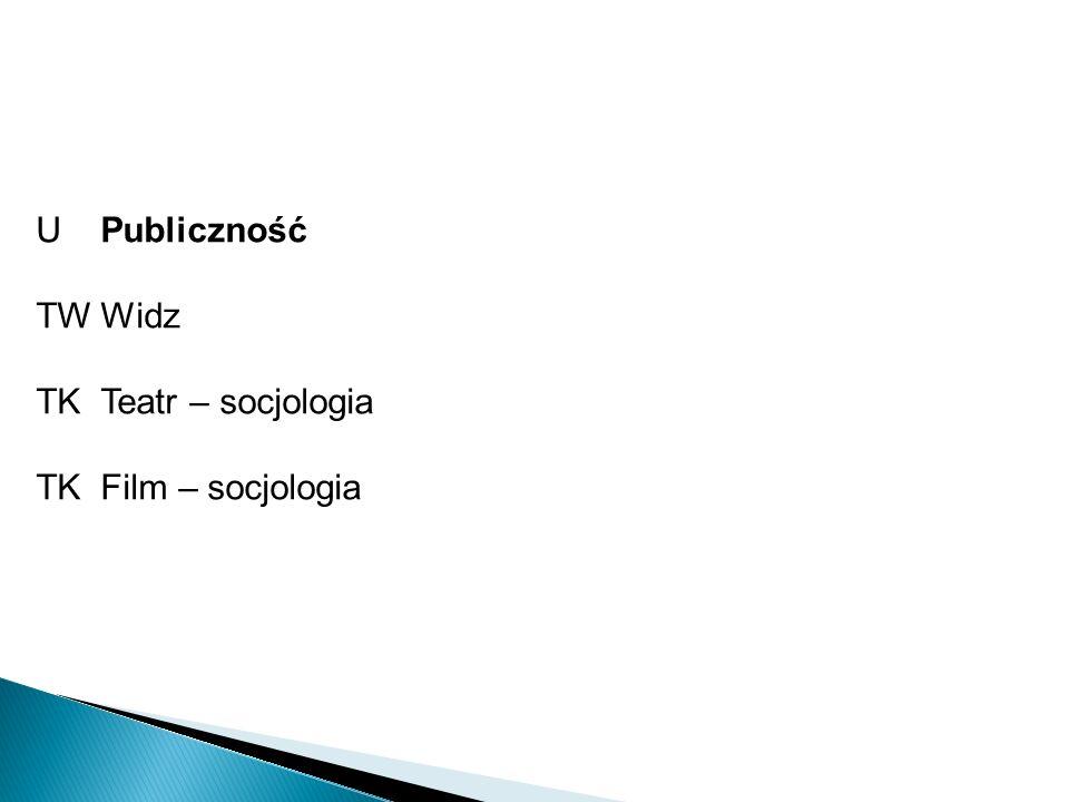 U Publiczność TW Widz TK Teatr – socjologia TK Film – socjologia