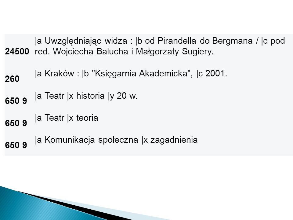 24500 |a Uwzględniając widza : |b od Pirandella do Bergmana / |c pod red. Wojciecha Balucha i Małgorzaty Sugiery.