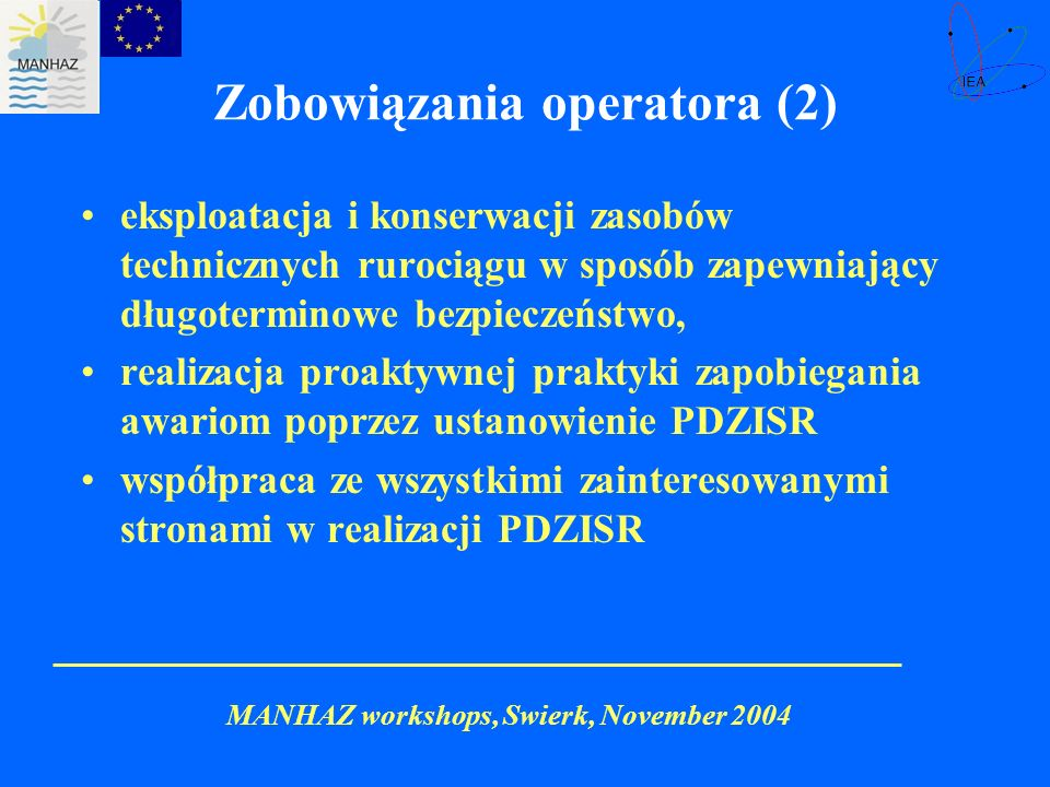 Zobowiązania operatora (2)